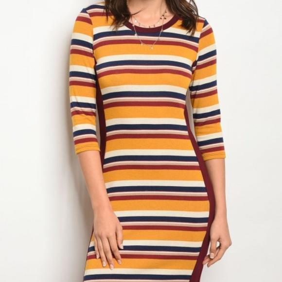 9948ef4f60 Gilli USA Dresses | New Casual Multicolored Stripe Bodycon Dress ...